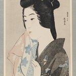 Lady in Grey Kimono with Towel