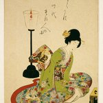 A Seated Woman with a Lacquer Candle Stand