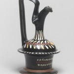 Black-Glazed Epichysis (Cruet for Oil or Wine) with Painted Decoration
