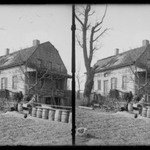 """Dutch House Looking West, Foot of 61 Street Bay Ridge, Brooklyn (On Tombstone in Yard """"In Memory of Richard Barton, Jr. Who Was Drowned Oct. 10, 1834, Aged 16 Years and 4 Months"""")"""