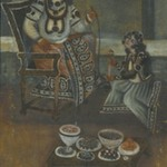 Female Attendant Offering a Waterpipe to a Princess Seated on a Throne