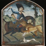 Hunter on Horseback Attacked by a Lion