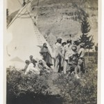 [Untitled] (Informal Family Group beside a Teepee)