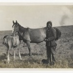 [Untitled] (Man Standing by a Mare and Two Foals)