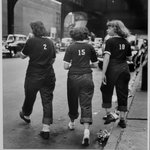 Three Girls Crossing Street (Livonia Avenue Under IRT New Lots El, East New York), from the series An Era Past: Photographs of Brownsville and East New York, Brooklyn