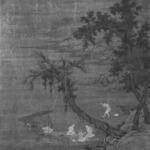 Fishermen on Boats Seen through Willow Trees