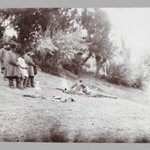 Mozaffar al-Din Shah taking Tea in the Country, with Servants in Attendance, One of 274 Vintage Photographs