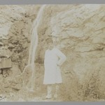 Mozaffar al-Din Shah Posing before a Waterfall, One of 274 Vintage Photographs