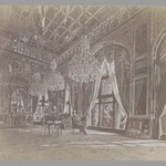 A Photograph of Muhammad Ghaffaris Painting of Mozaffer al-Din Shah Seated in the Mirror Hall (Talar-i Aina). One of 274 Vintage Photographs