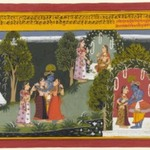 Kama and Rati Witness the Reunion of Krishna and Radha, Page from a Gita Govinda Series
