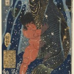 Oniwakamaru and the Giant Carp Fight Underwater