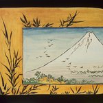 Small Card Decorated with Mount Fuji (recto) and Paint Bowl and Brush (verso)