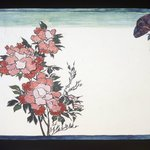Small Card Decorated with Chrysanthemums and Morning Glory