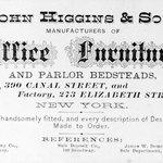 Business Card, John Higgins, 390 Canal Street