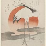 Crane with Setting Sun