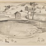 Rural Scene with Pond and Sheep