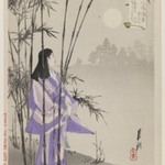 Woman by Bamboo Trees Under Moonlight