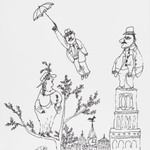 [Untitled] (Spring - Man with Umbrella/Woman on Tree/Man on Tower)