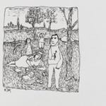 [Untitled] (Family Picnic - Man with Flower)