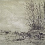 Landscape with Two Figures, Herd of Sheep, and a Cow