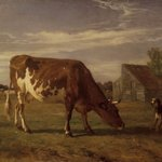 Cow in an Enclosure; A Dog Barking at Her (Vache paissant dans un enclos; un chien aboie apr&egrave;s elle)