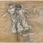 [Untitled] (Two Girls in White Running Arm in Arm)