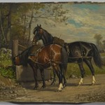 Two Horses at a Wayside Trough