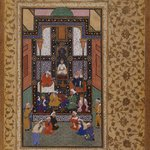 Sadis Visit to an Indian Temple, folio from a manuscript of the Bustan by Sadi