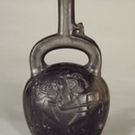 Stirrup Spout Bottle with Fishing Scene