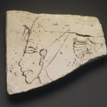 Figured Ostracon with Head of Akhenaten