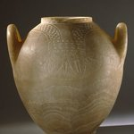 Two- Handled Jar with Floral Collar in Relief