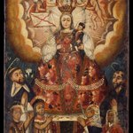 Madonna with Christ Child, Saint Dominic, Saint Francis, and Indian Worshippers
