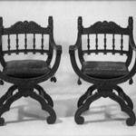 Pair of Armchairs (x-frame)                                    (Renaissance Revival style)