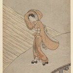 Young Girl Crossing a Bridge after Snow: Calendar Year of the Second Year of Meiwa