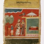 Yashoda Ties Krishna to a Mortar, Page from a dated Rasikapriya Series