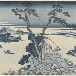 A View of Mount Fuji across Lake Suwa, Lake Suwa in Shinano Province (Shinsu Suwako), from the series, Thirty-six Views of Mount Fuji (Fugaku sanjurokkei)