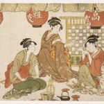 Three Seated Ladies with Lanterns, Tea Pot, Candle Holder and Stringed Instrument