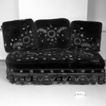Couch with 3 cushions (one of a pair) Aesthetic Movement style with Moorish style embroidery (Rockefeller Room)