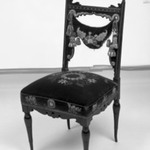 Side chair (one of a pair) Aesthetic Movement style with Moorish style embroidery (Rockefeller Room)