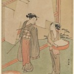Young Girl and Servant Drying Japanese Fine Noodles