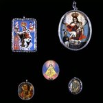 Painted Medallion in Locket Frame