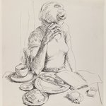 Woman Reading at the Breakfast Table