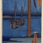 Moonlight View of Tsukuda with Lady on a Balcony