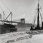 New York City, Seen from the Rear of Fulton Fish Market, Brooklyn Bridge in the Background, December 1947