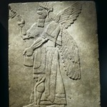 Relief of Winged Man-Headed Figure Facing Right