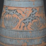 Tear Drop Shaped Vase with Painted Designs of Maidens, Cows, Swamp Plants, etc.