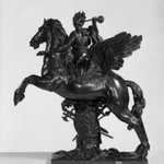 Equestrian Group, Figure of Goddess, blowing trumpet on Winged Horse (One of a Pair)