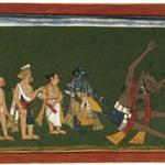 """Rama Kicks the Body of Dundubhi, page from an illustrated manuscript of the Ramayana (the """"Shangri"""" Ramayana)"""