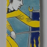 Tile Fragment Depicting a Man Stoking a Fire