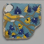 Cuerda Seca Tile Fragment Depicting Youth Climbing a Tree